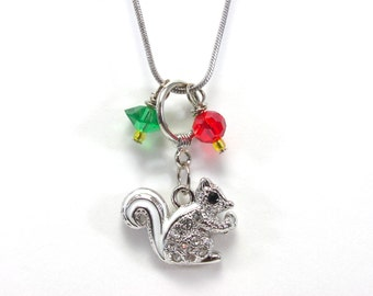 Alpha Gamma Delta Squirrel Sorority Necklace - Crystal Squirrel Jewelry - Silver - Red - Green and Yellow - Alpha Gam - Greek Big / Little