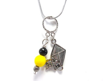 Kappa Alpha Theta - Kite Necklace - Sorority Jewelry - Black and Gold Beads - College Greek - Silver - Big / Lil / Little - Initiation