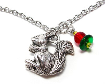Silver Squirrel Mascot Necklace - Red and Green Handcrafted Sorority Necklace - Greek Jewelry - Sorority Greek Necklace