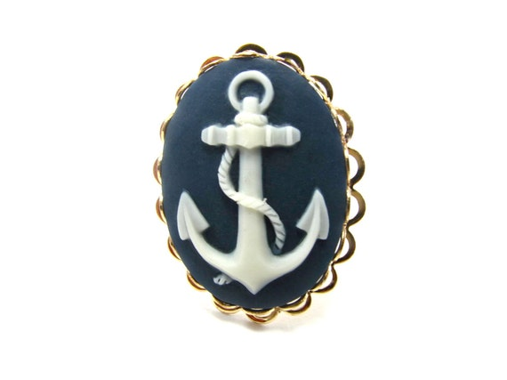 Anchor Cameo Ring - Nautical Navy Blue and White Anchor Ring - Navy and Gold Anchor Jewelry - Nautical Accessory - Nautical Ring - US Made