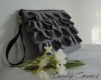 READY to SHIP iPad bag / ruffles bag / handbag / Padded - 2 zippers - waterproof lining - hidden extra Pocket