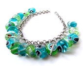 Blue and Green Glass Bead Dangle Bracelet