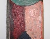 "Encaustic Painting on Leather stretched over wood, Original Art - ""Arches 2"""