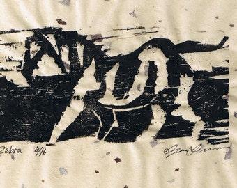 Zebra Woodblock Print