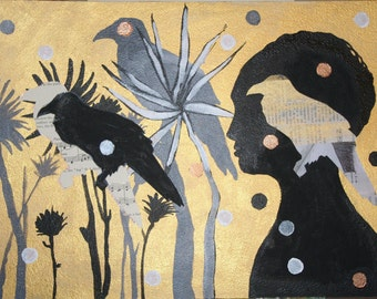 Sale Art Mixed Media Painting Original, Ravens Silhouettes