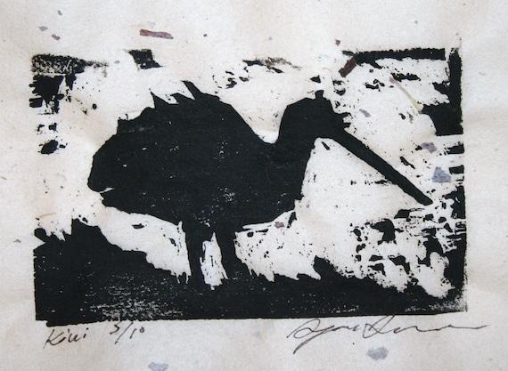 Kiwi Bird Woodblock Print