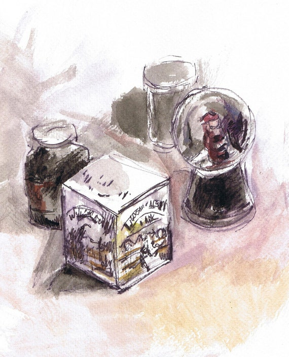 "Snowglobe Ink Drawing /Painting, Original Signed Still Life, 9"" X 11""  on Watercolor Paper."