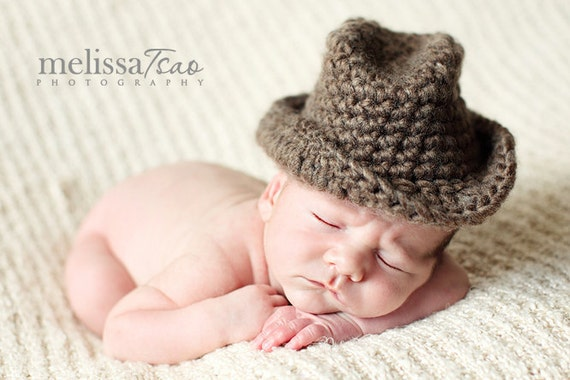 Baby cowboy hat can be molded into fedora or bucket style --- versatile photography prop