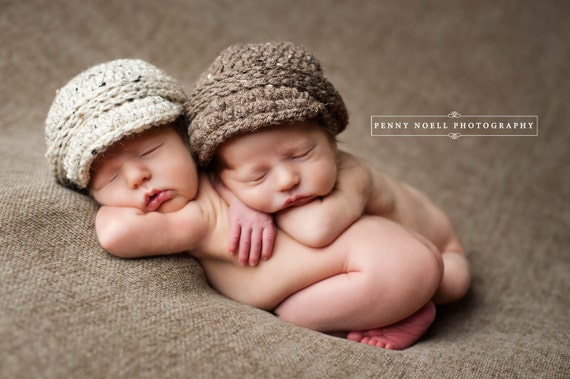 Twin newborn hat baby girl boy newsboy visor caps for spring photos --- oatmeal barley denim neutral colors