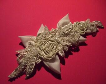 Wedding Headpiece,  Bridal Headpiece, Bridal Sash, Wedding Sash, Wedding Hair Comb, Ivory Headpiece, Hand beaded Headpiece