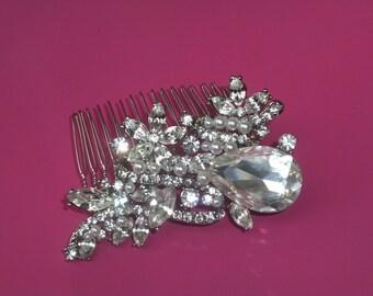Wedding Comb, Wedding Crystal Comb, Bridal Crystal Pearl Comb, Wedding Rhinestone Pearl Comb, Vintage Style Hair Comb