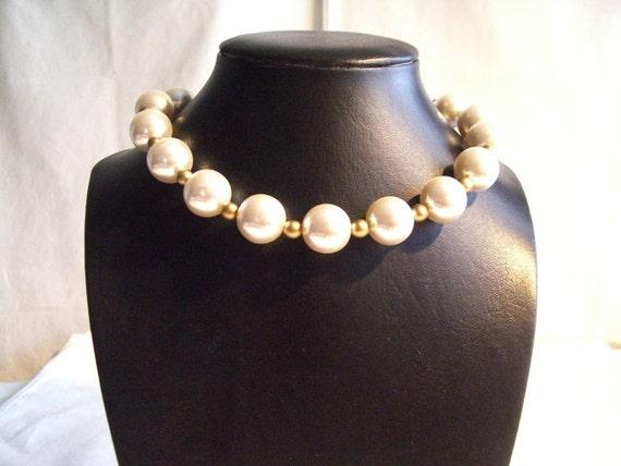 Bridal Pearl Necklace, Wedding Necklace, Bridal Necklace, Fashion Necklace, Pearl & Antique Gold Beaded Necklace