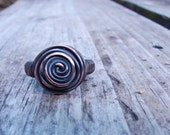 Blue Oxidized Copper Rosette Ring. SIZE 6 1/4