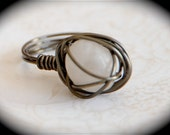 Beach Diamond - Beach Pebble wire wrapped ring OOAK