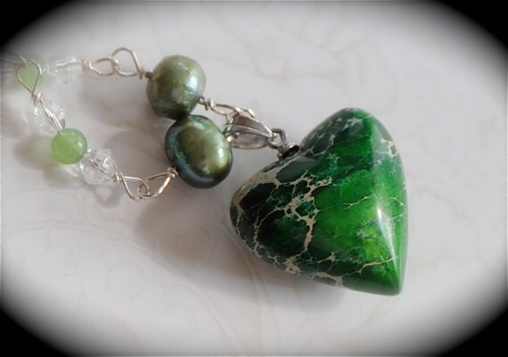 Green With Envy - Variscite, Jade and Quartz Crystal Gemstone Necklace OOAK