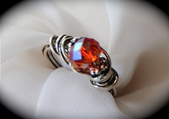 Red Dragon - Red Czech Glass Neo Victorian Ring in Silver Size 5 1/4