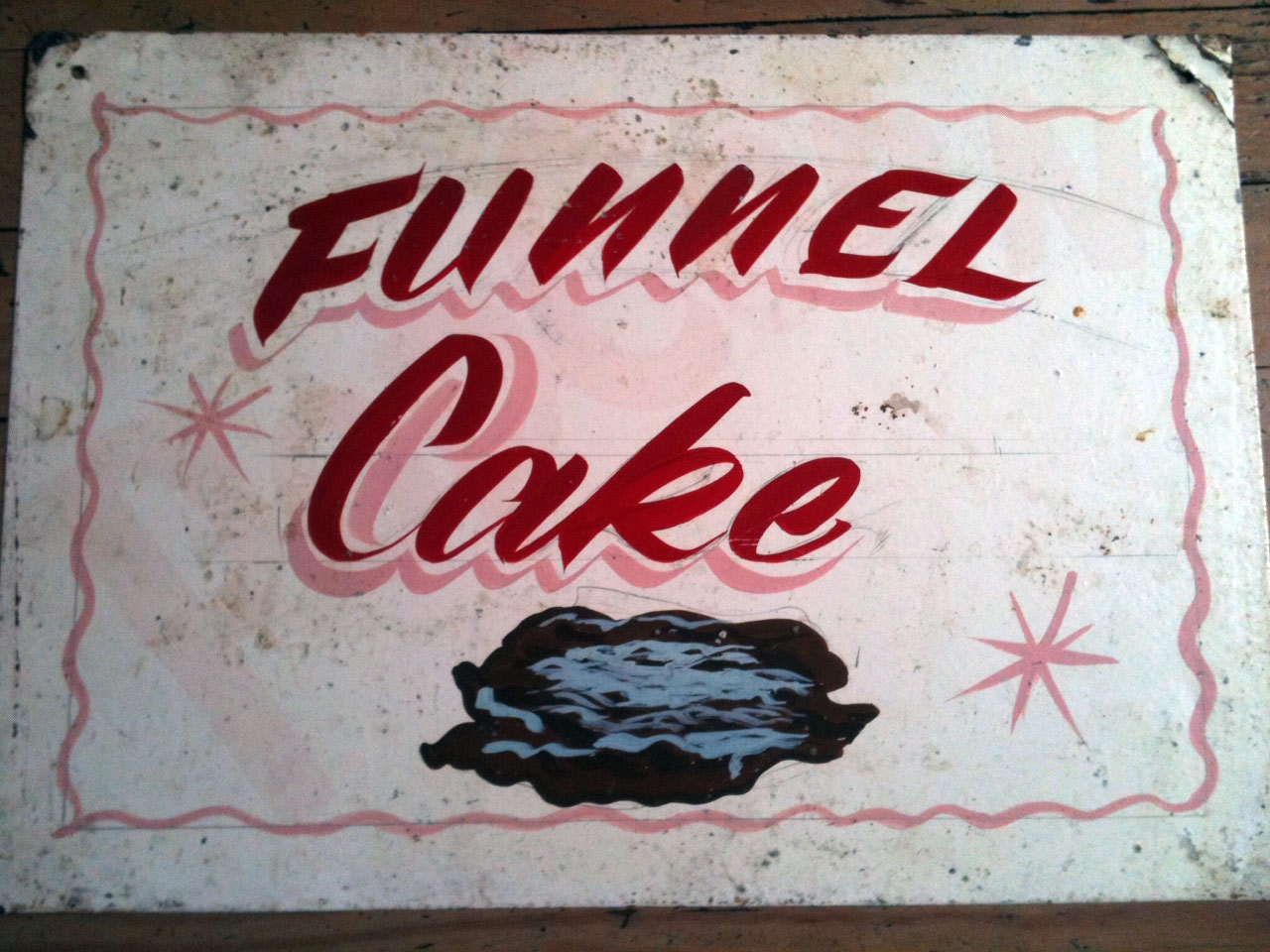 Vintage Hand Painted Carnival Food Sign Funnel by ...