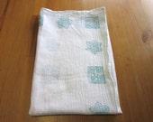 1 turquoise India block print tea towel