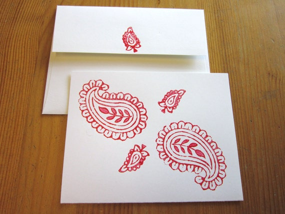 1 red India block print recycled card