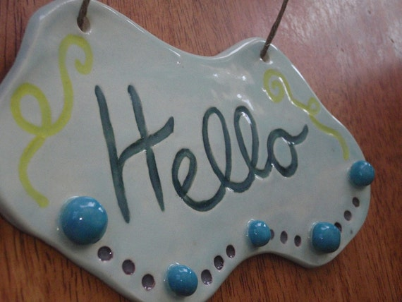 FREE SHIPPING - Ceramic Welcome Sign - Outdoor Sign - Hello Sign - Pottery Sign