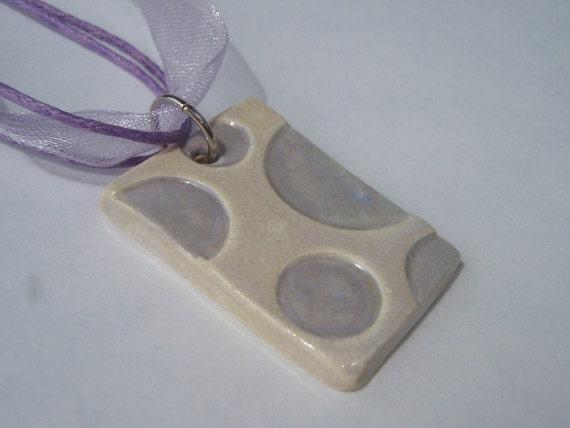 FREE SHIPPING - Ceramic Pendant Necklace - Ceramic Jewelry Ceramic Jewellry Pottery Pendant - Polka Dot light purple lavender