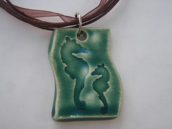 FREE SHIPPING - Ceramic Necklace Pendant - Ceramic Jewelry - Teal Pendant - Seahorse Pendant - Pottery Jewelry - Clay Pendant