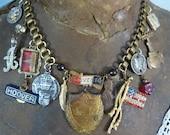 GOD BLESS America patriotic USA  vintage  assemblage necklace