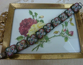 RED and GREEN  vintage Italian mosaic bracelet