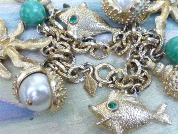 Sale /././...SARAH COVENTRY VINTAGE  Beach  Gold Pearl  Chunky  Charm Bracelet