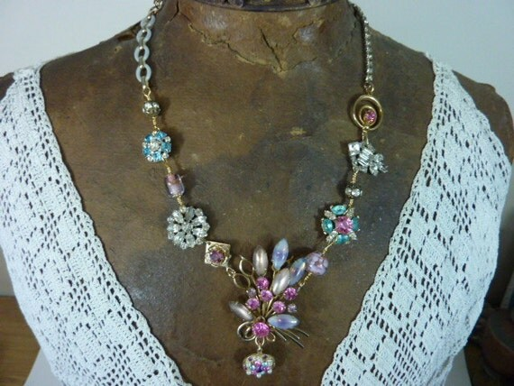 PINK and  TURQUOISE  RHINESTONE vintage  assemblage necklace