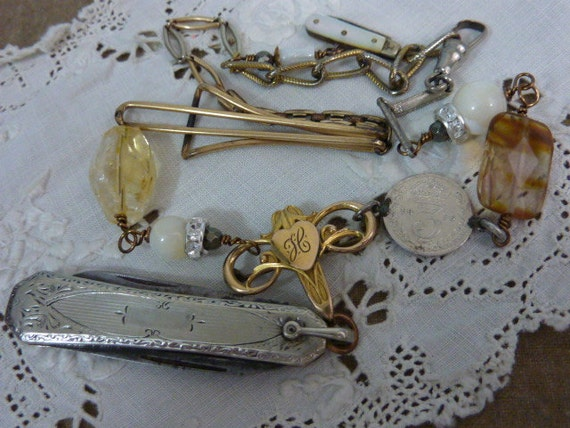 ANTIQUE KNIFE  watch fob chain vintage assemblage  necklace