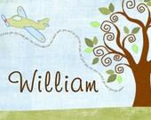 "Custom Listing for Greta- Swirly tree with airplane name artwork 16""x20"""