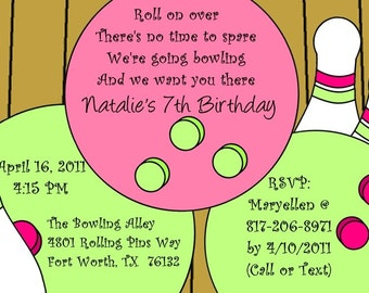Bowling Alley invitation- pink and green- digital