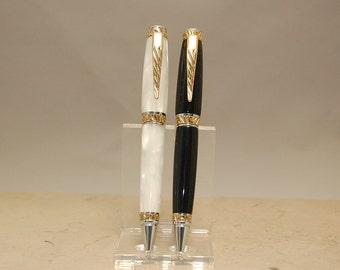 Handmade Acrylic Wedding Pen Set Custom Made-  Beautiful Shining Groom and Brides Pens