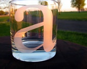 Personalized Etched Initial Tumblers Rocks Glasses - Custom with Initial of Your Choice - Set of 4