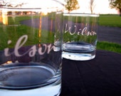 Personalized Etched Last Name Tumblers Rocks Glasses - Custom - Set of 4