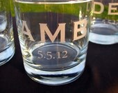 Groomsmen Gifts - Bachelor Party Gifts - Personalized Etched Initial Tumblers Rocks Glasses With Date - Custom Initials - 4 Glasses