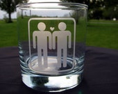 Gay Male Couple - Tumblers Rocks Glasses - Set of 4