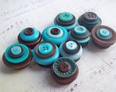Magnets with Vintage Turquoise & Chocolate Buttons