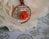 Necklace: Adore, Glass, Bead, Pink, Rose, Flower, Circular, Pendant, Word, Antique Copper