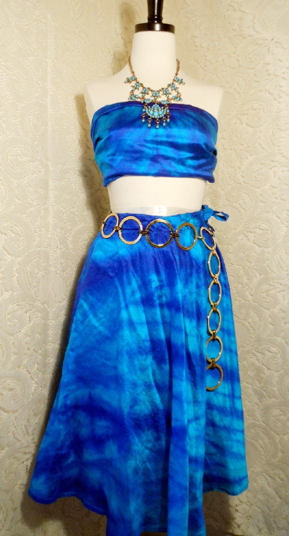Beautiful Bright Blue and Turquoise Tie Dyed Skirt and Shaw