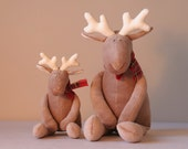 Christmas Plush Reindeers Mom and Baby brown toys with red scarf - andreavida