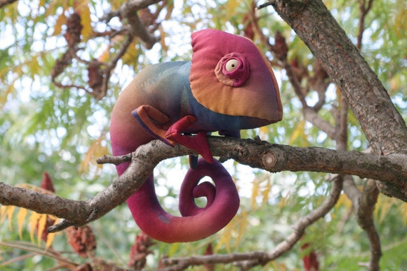 Colorful Autumn Chameleon stuffed toy