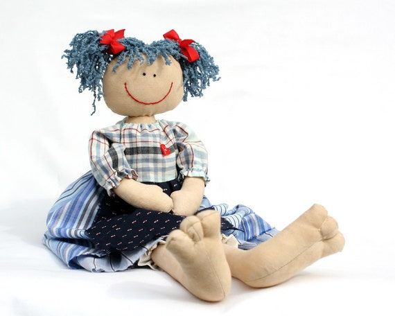 Blueberry Girl, blue country style raggedy doll