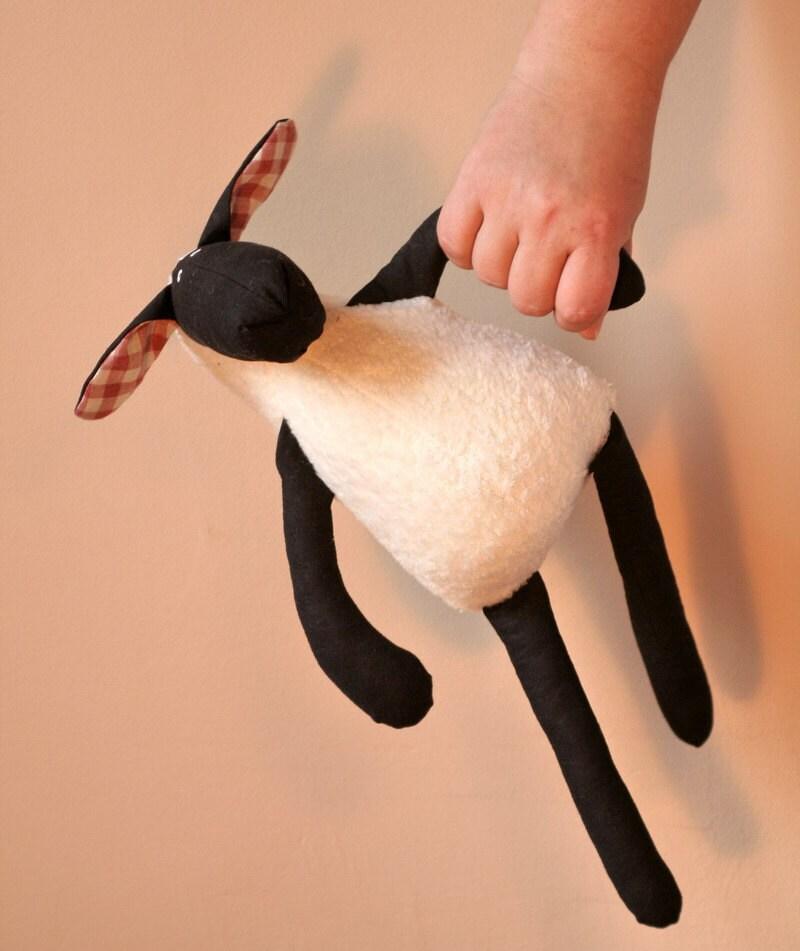 Stuffed Plush Sheep Black and White, Cuddly Soft Lamb, Plush Toy