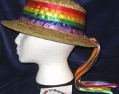 Straw Hat Adorned w/ A Rainbow of Ribbons w/ Matching Bracelet