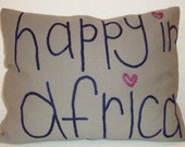 Happy in Africa embroidered cushion