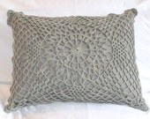 Doilie Crochet front cushion cover with cotton twill backing