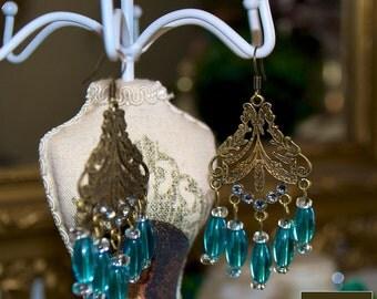 Romantic blue Chandelier earrings