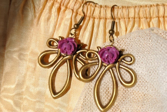 lilac rose lavalier earrings